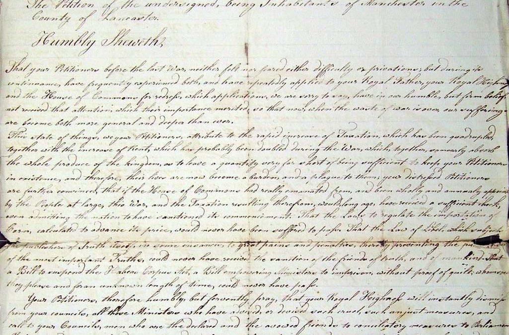 Blanketeers' petition